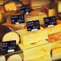 Cheese Price Tag Labels created  with Edikio plastic card printers