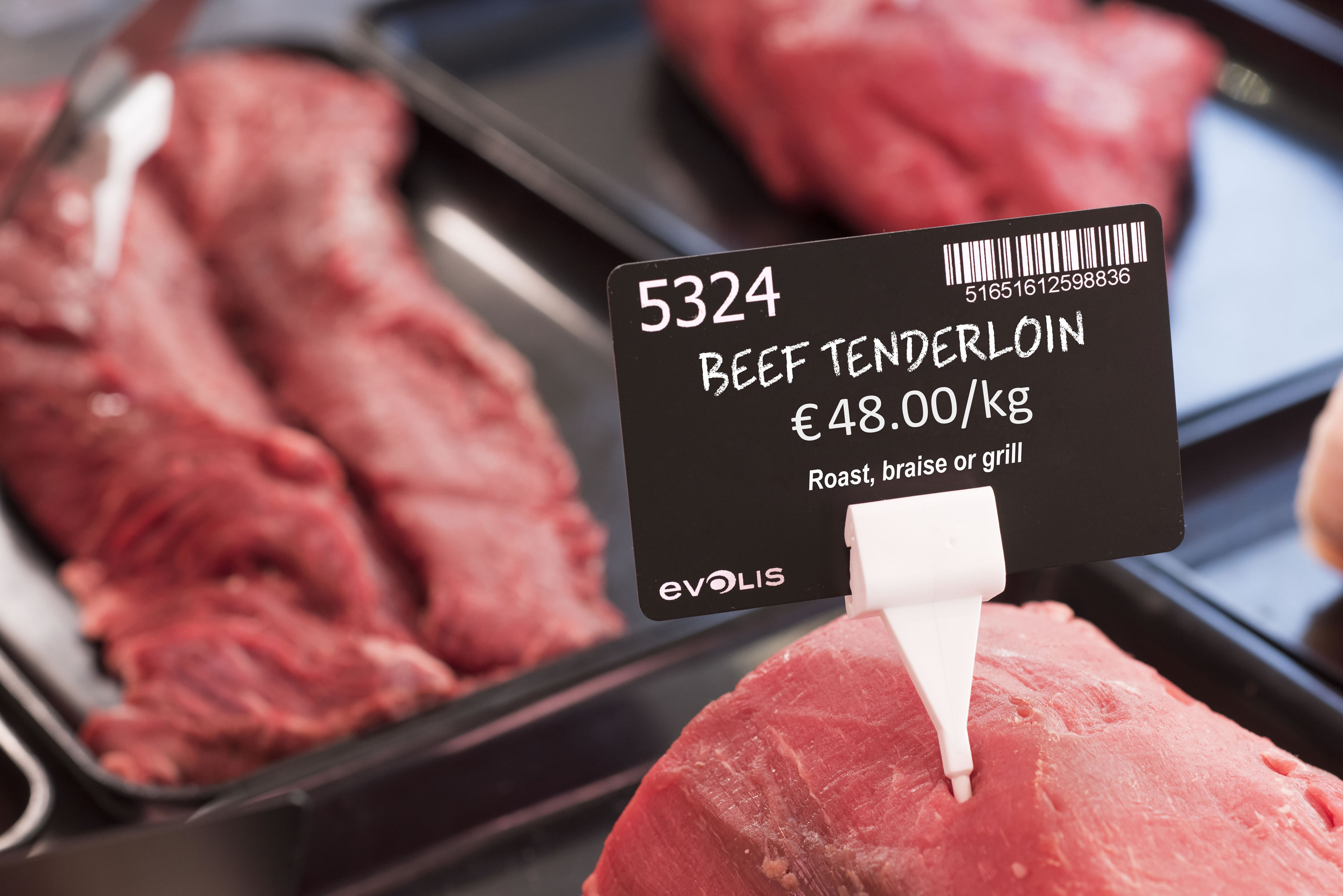 Butcher Beef Price Tag created by Edikio food label printers