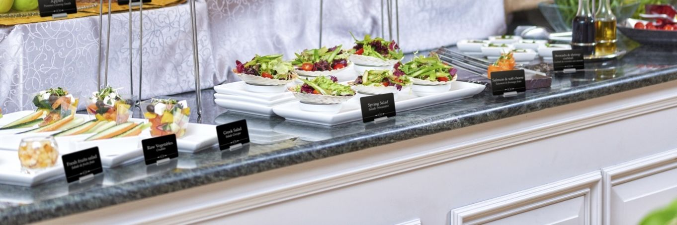 Buffet Display Labels for hotels and restaurants can be easily created with Edikio plastic card printers