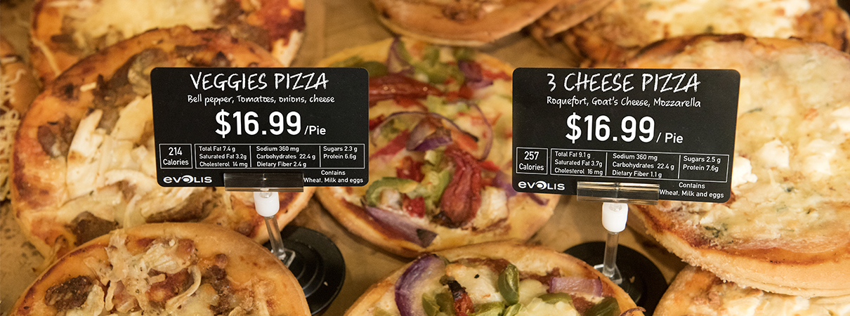 Pizza price tags are quickly and easily created with Edikio food label printers