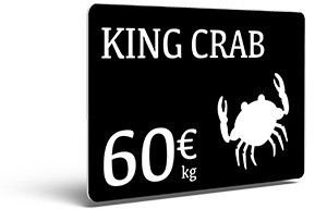 Price Tag King Crab created with Edikio food labelling solutions